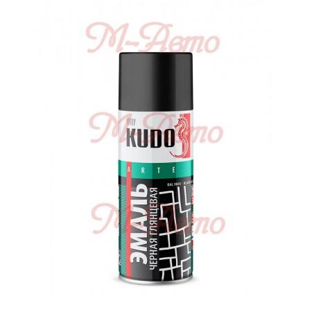 KUDO КU-1002 Эмаль универсальная  черная глянцевая 520мл